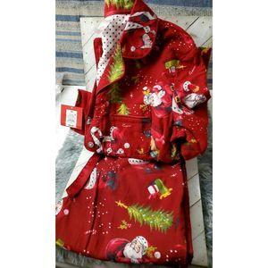 Target men red Santa button up Pajamas